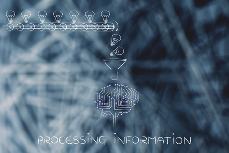 composing: processing information: production line with idea lightbulbs being processed by the microchips & circuits composing an artificial brain Stock Photo