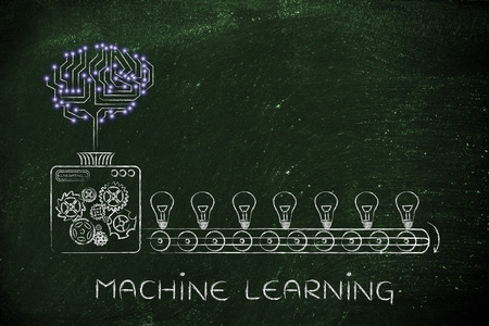 machine learning: electronic circuit brain on factory machine producing ideas Stock Photo