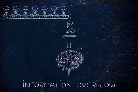 overflow: information, overflow: production line with idea lightbulbs being processed by the microchips & circuits composing an artificial brain Stock Photo