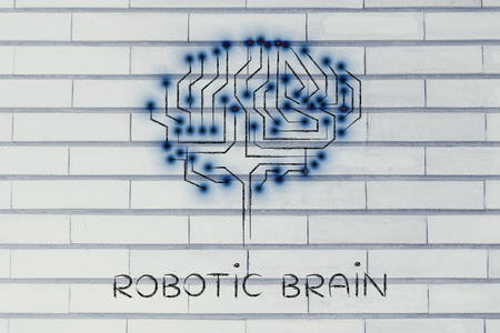 elaboration: robotic brain made of microchip ciircuits with led lights Stock Photo