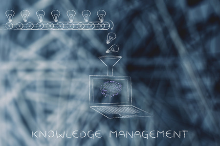 elaboration: knowledge management: production line with idea lightbulbs being processed by laptop with microchip brain on screen