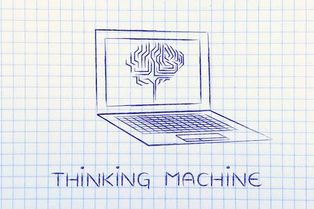 thinking machine: thinking machine: laptop with artificial intelligence brain elaborating data on the screen