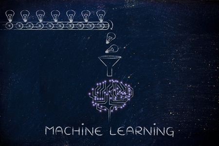 machine learning: production line with idea lightbulbs being processed by the microchips & circuits composing an artificial brain Banque d'images