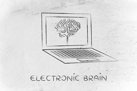 elaboration: electronic brain: laptop with artificial intelligence brain elaborating data on the screen Stock Photo