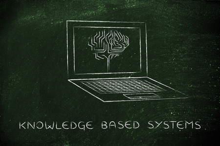 is based: knowledge based systems: laptop with artificial intelligence brain elaborating data on the screen