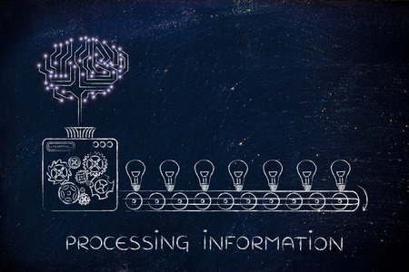 elaboration: processing information: electronic circuit brain on factory machine producing ideas Stock Photo