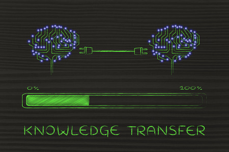 systems thinking: knowledge transfer: electronic circuit brains connected by plugs exchanging information with progress bar loading Stock Photo