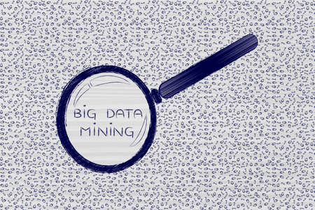 troubleshoot: messy binary code and magnifying glass looking into it, with text Big Data Mining inside Stock Photo