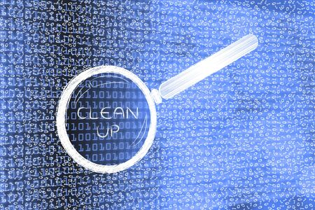 up code: messy binary code and magnifying glass looking into it, with text Clean Up