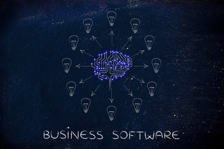 business software: business software: electronic circuit brain creating ideas, with arrows pointing out to lightbulbs