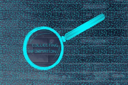 troubleshoot: messy binary code and magnifying glass looking into it, with text Collecting Information inside
