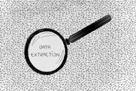 troubleshoot: messy binary code and magnifying glass looking into it, with text Data Extraction inside Stock Photo