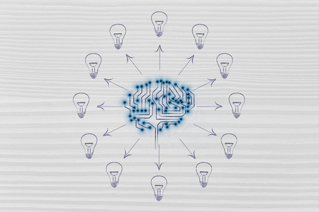 thinking machines: electronic circuit brain creating ideas, with arrows pointing out to lightbulbs