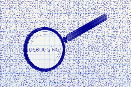 troubleshoot: messy binary code and magnifying glass looking into it, with text Debugging