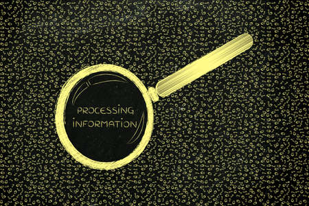 troubleshoot: messy binary code and magnifying glass looking into it, with text Processing Information
