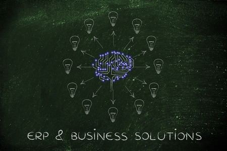 thinking machines: erp & business solutions: electronic circuit brain creating ideas, with arrows pointing out to lightbulbs