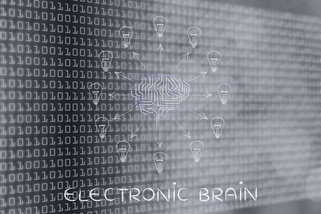 systems thinking: electronic brain: electronic circuit brain creating ideas, with arrows pointing out to lightbulbs