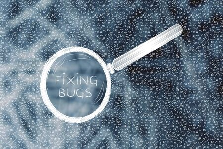 troubleshoot: messy binary code and magnifying glass looking into it, with text Fixing bugs