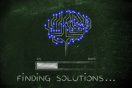 thinking machines: finding solutions: electronic circuit brain elaborating data, with progress bar loading