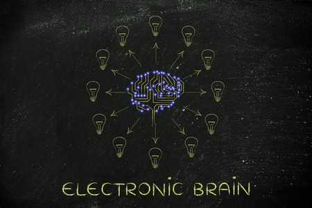 thinking machines: electronic brain: electronic circuit brain creating ideas, with arrows pointing out to lightbulbs