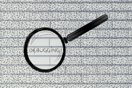 debugging: messy binary code and magnifying glass looking into it, with text Debugging