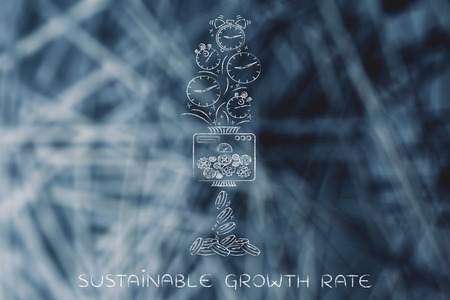 free enterprise: sustainable growth rate: machine turning clocks into coins, conceptual illustration