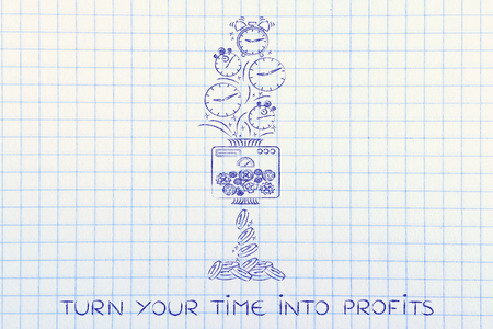 free enterprise: turn your time into profits: machine turning clocks into coins, conceptual illustration