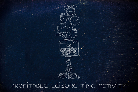free enterprise: profitable leisure time activity: machine turning clocks into coins, conceptual illustration