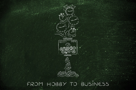 free enterprise: from hobby to business: machine turning clocks into coins, conceptual illustration
