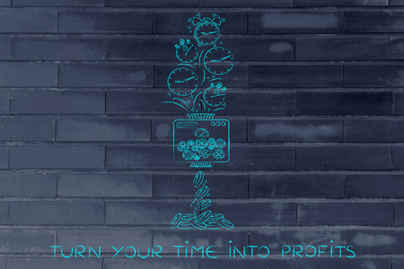 turn your time into profits: machine turning clocks into coins, conceptual illustration