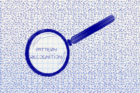 messy binary code and magnifying glass looking into it, with text Pattern Recognition