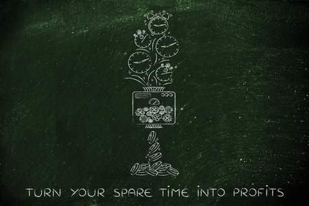 free enterprise: turn your spare time into profits: machine turning clocks into coins, conceptual illustration