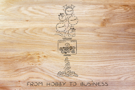 from hobby to business: machine turning clocks into coins, conceptual illustration