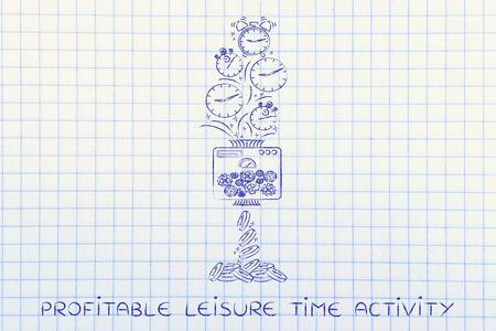 profitable Freizeitbeschäftigung: Drehmaschine Uhren in Münzen, konzeptionelle Illustration