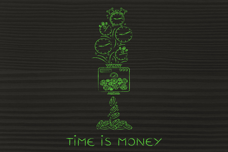 free time: time is money: machine turning clocks into coins, turn your free time into profits