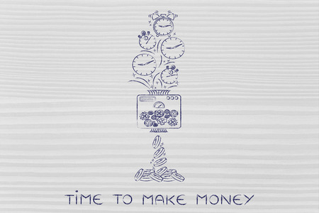 time to make money: machine turning clocks into coins, conceptual illustration