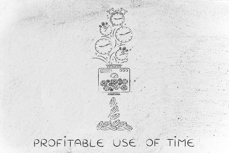 free enterprise: profitable use of time: machine turning clocks into coins, conceptual illustration