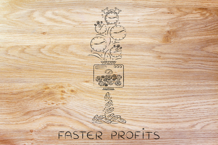 free enterprise: faster profits: machine turning clocks into coins, conceptual illustration