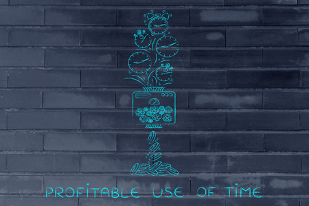 profitable: profitable use of time: machine turning clocks into coins, conceptual illustration