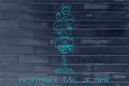 profitable: profitable use of time: machine turning clocks into coins, conceptual illustration