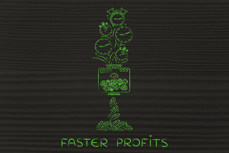 faster: faster profits: machine turning clocks into coins, conceptual illustration