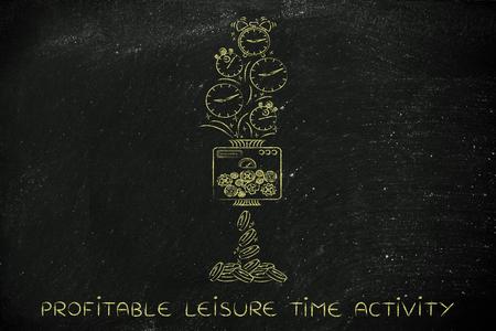 profitable: profitable leisure time activity: machine turning clocks into coins, conceptual illustration