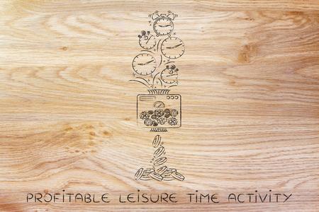 profitable Freizeitbeschäftigung: Drehmaschine Uhren in Münzen, konzeptionelle Illustration Standard-Bild