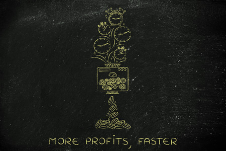 free enterprise: more profits, faster: machine turning clocks into coins, conceptual illustration Stock Photo