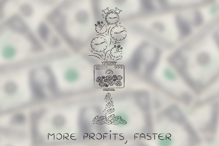 faster: more profits, faster: machine turning clocks into coins, conceptual illustration Stock Photo