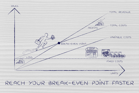 total loss: reach your break-even point faster: graph with icons and business owner running and climbing on the results
