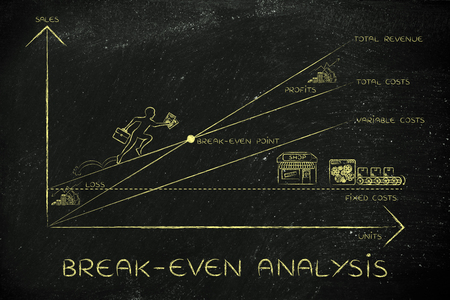 total loss: break-even analysis: graph with icons and business owner running and climbing on the results