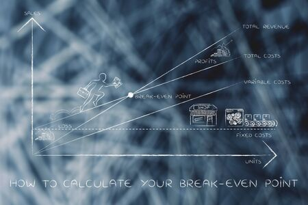 total loss: how to calculate your break-even point: graph with icons and business owner running and climbing on the results Stock Photo