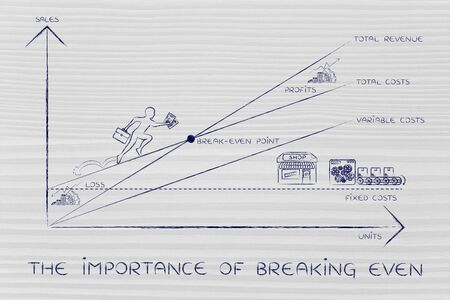 even: the importance of breaking even: graph with icons and business owner running and climbing on the results Stock Photo
