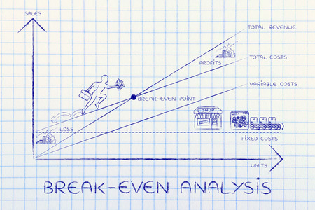 break-even analysis: graph with icons and business owner running and climbing on the results